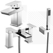 Scudo Escobar Modern Bath Shower Mixer Basin Tap Pack Deck Mounted Brass Chrome